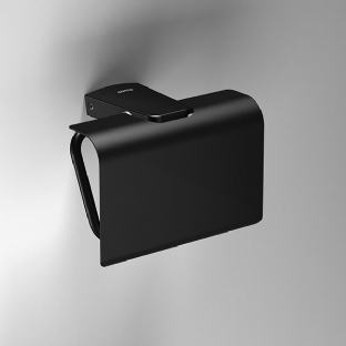 Sonia S6 Black Toilet Roll Holder with Flap - 166473
